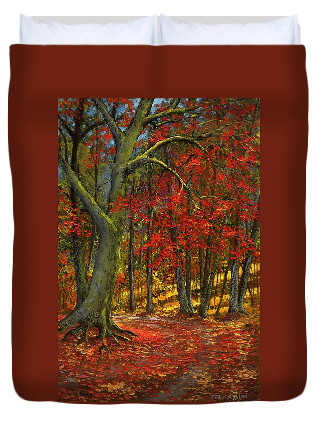Landscape Duvet Cover featuring the painting Fallen Leaves by Frank Wilson