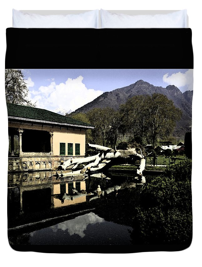 Action Duvet Cover featuring the digital art Fallen Tree In Water Pool by Ashish Agarwal