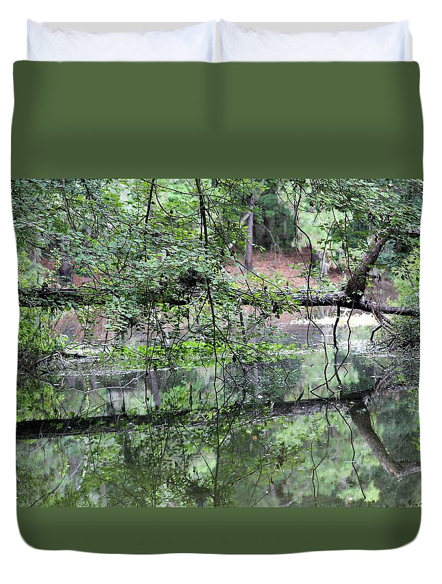 Tree Duvet Cover featuring the photograph Fallen Tree Reflection by Kay Mathews