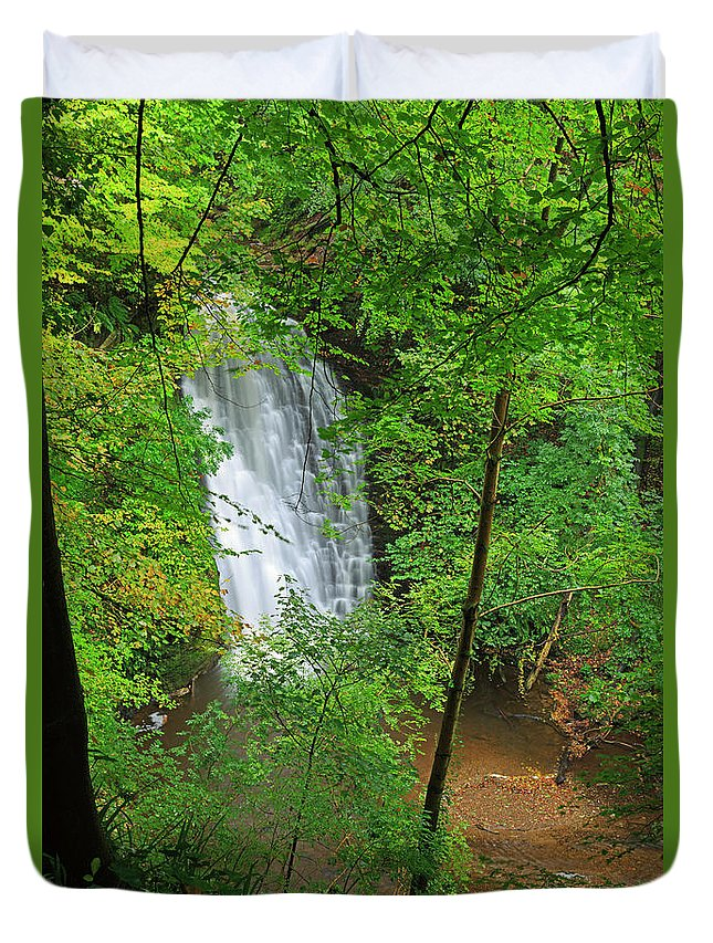 Scenics Duvet Cover featuring the photograph Falling Foss, North York Moors National by Louise Heusinkveld