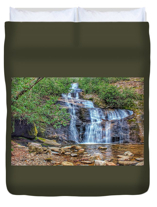 Setrock Creek Falls Duvet Cover featuring the photograph Falling From Mount Mitchell by Chris Berrier