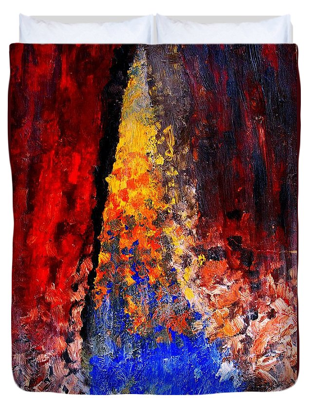 Abstract Duvet Cover featuring the painting Falling by Ian MacDonald