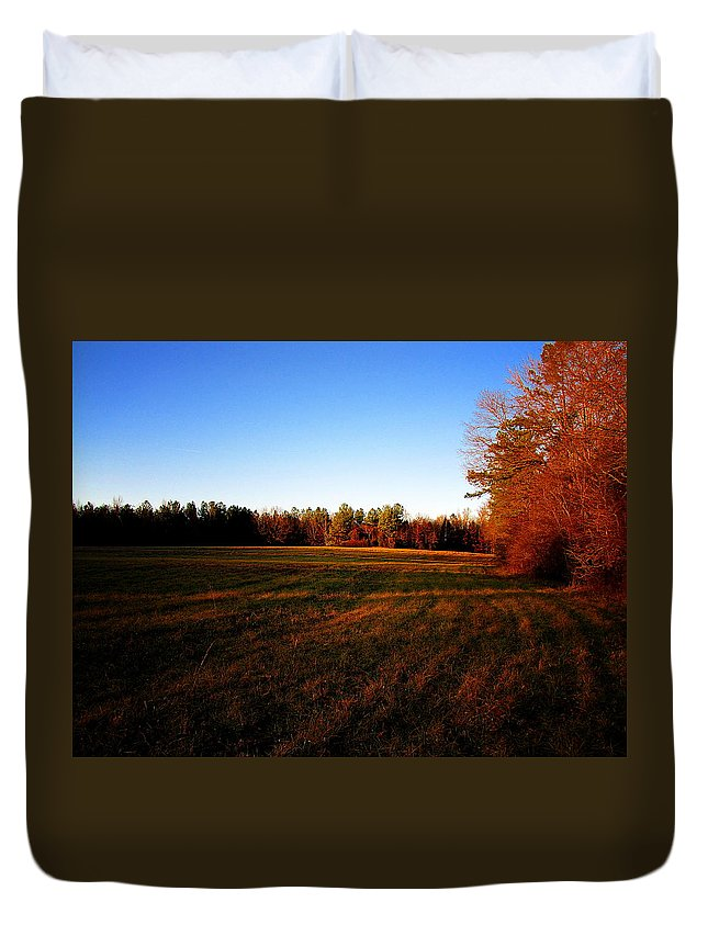 Fall Duvet Cover featuring the photograph Fallow Field by Greg Simmons
