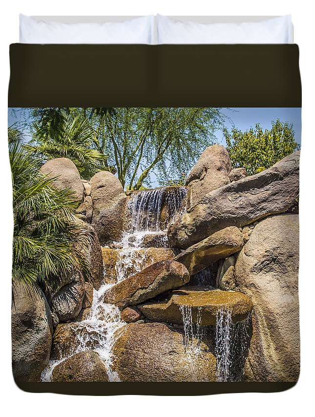 Barbara Snyder Duvet Cover featuring the digital art Falls At Jackalope Ranch by Barbara Snyder