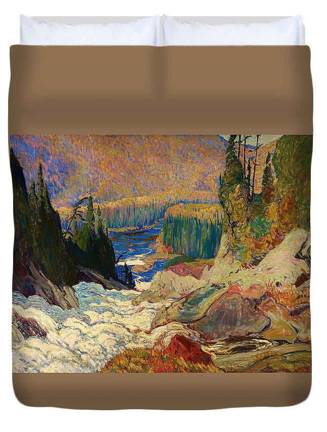Painting Duvet Cover featuring the painting Falls - Montreal River by Mountain Dreams