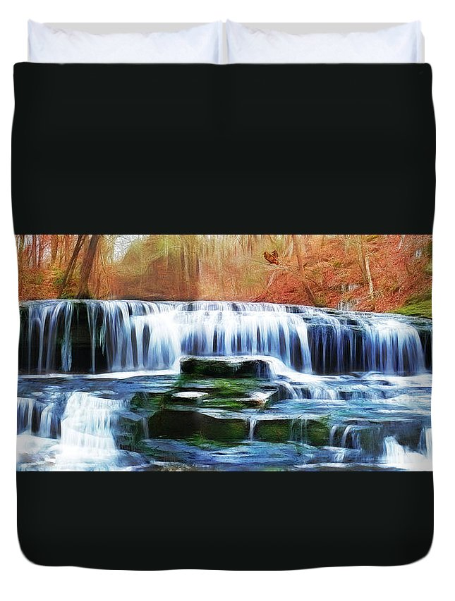 Falls Duvet Cover featuring the photograph Falls Panorama-features In Groups Rivers Streams And Waterfalls-visions Of The Night by Ericamaxine Price