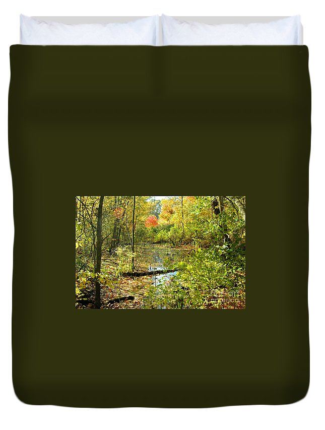 Leaves Duvet Cover featuring the photograph Fallscape by Trish Hale
