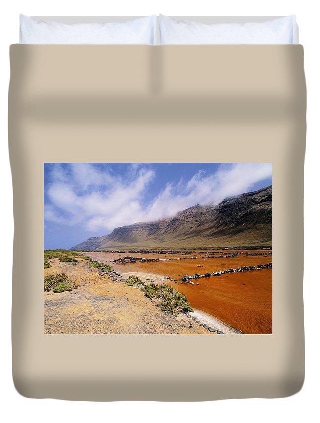 Cliff Duvet Cover featuring the photograph Famara Cliffs And Salinas Del Rio On Lanzarote by Karol Kozlowski