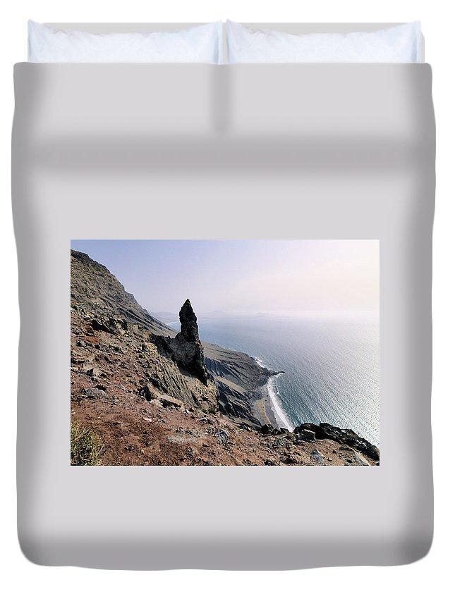 Sea Duvet Cover featuring the photograph Famara Cliffs On Lanzarote by Karol Kozlowski