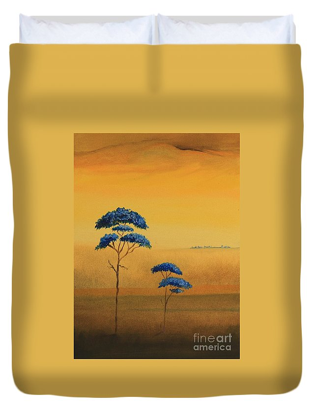 Alicia Maury Prints Duvet Cover featuring the painting Famboyanes Azules by Alicia Maury
