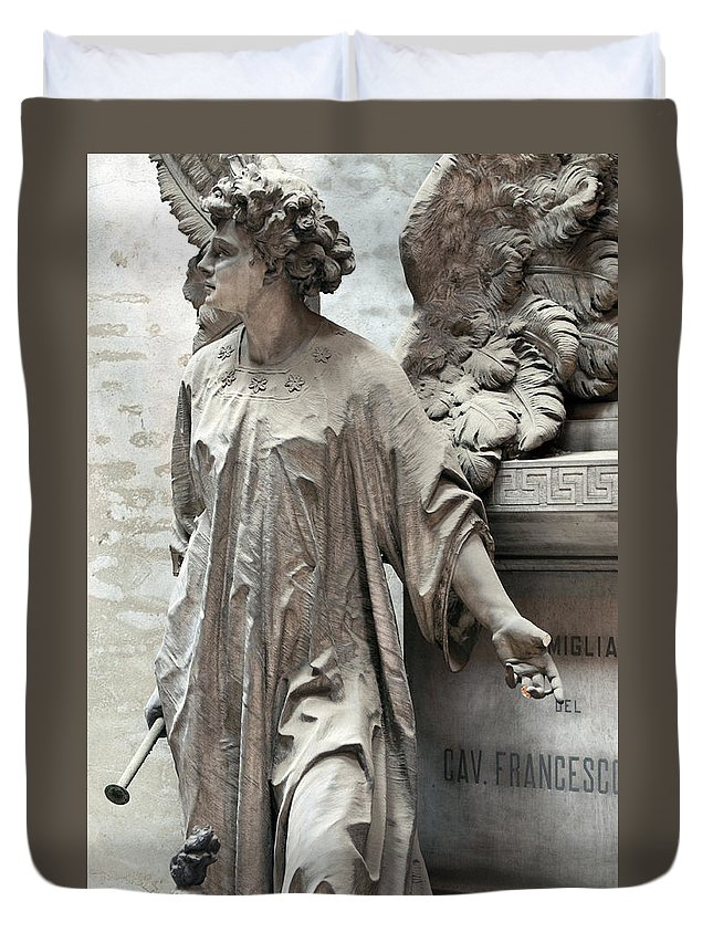 Vertical Duvet Cover featuring the photograph Famiglia Cavaliere Del Francesco Canti Memorial Marker Detail I by Sally Rockefeller