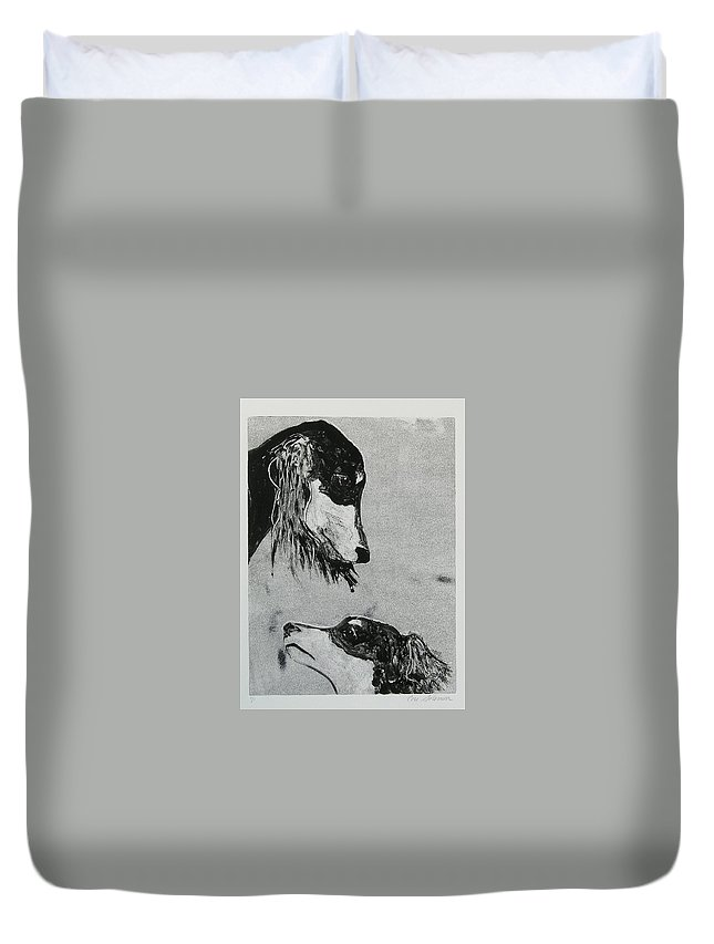Saluki Duvet Cover featuring the mixed media Family Affair by Cori Solomon