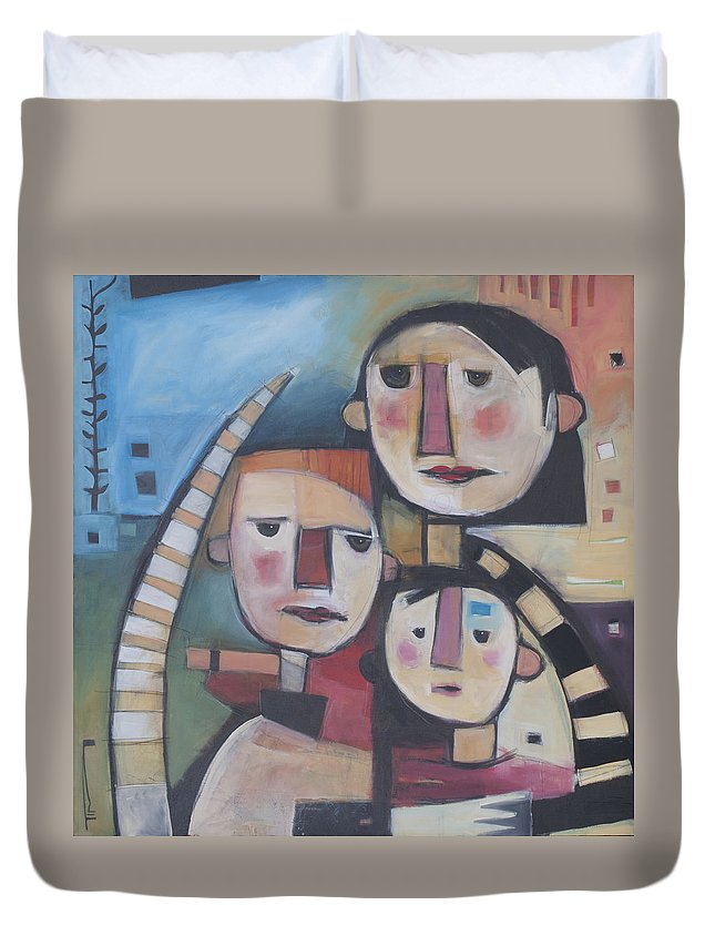 Cat Duvet Cover featuring the painting Family In Garden With Cat by Tim Nyberg
