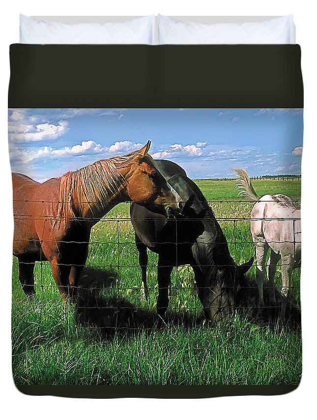 Scenic Duvet Cover featuring the painting Family Meal by Terry Reynoldson