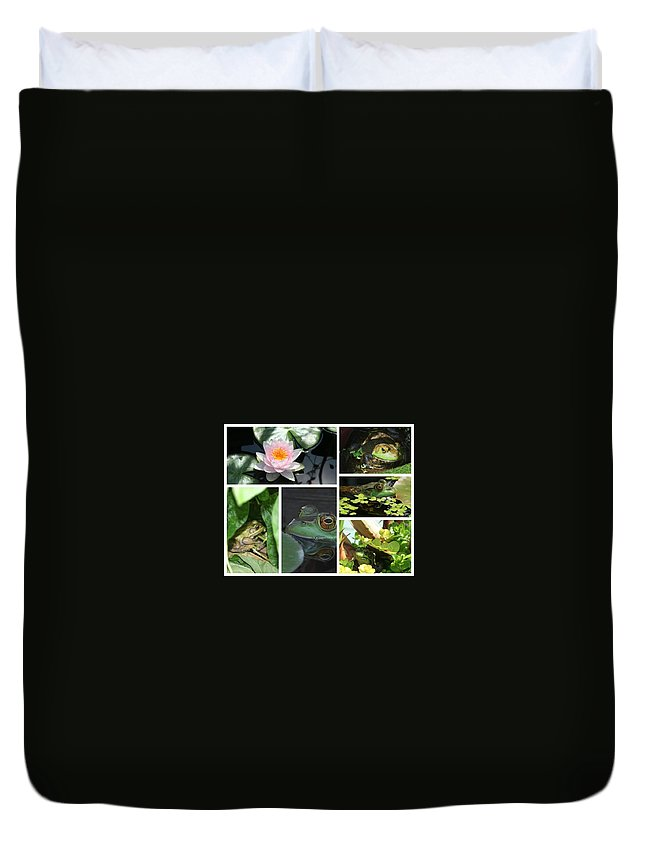 Collage Duvet Cover featuring the photograph Family Of Frogs Collage by Barbara S Nickerson