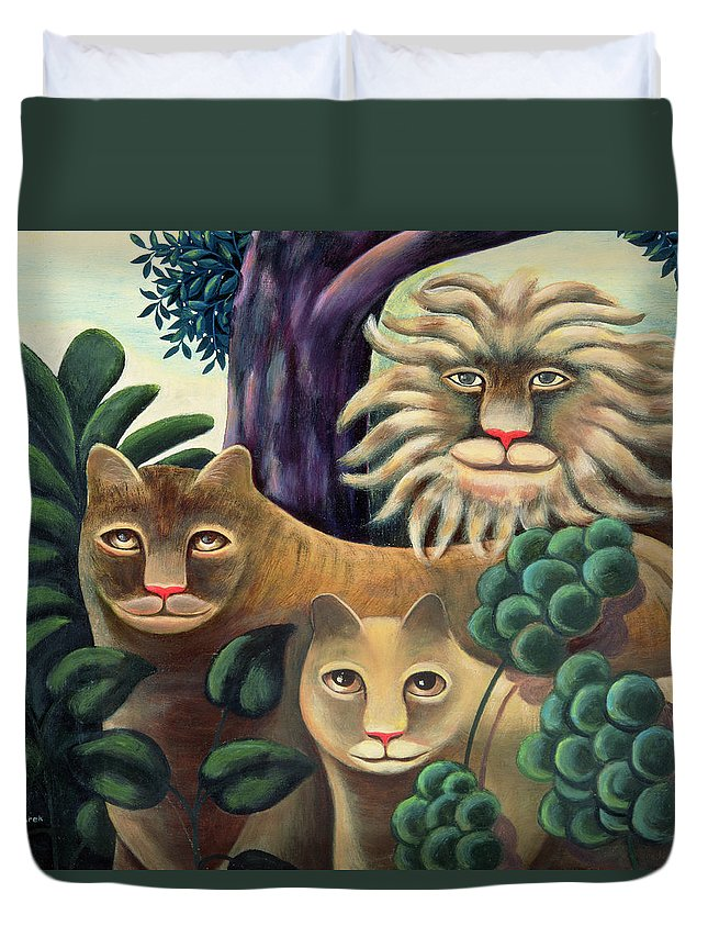 Lion; Lioness; Cub; Family Duvet Cover featuring the painting Family Portrait by Jerzy Marek