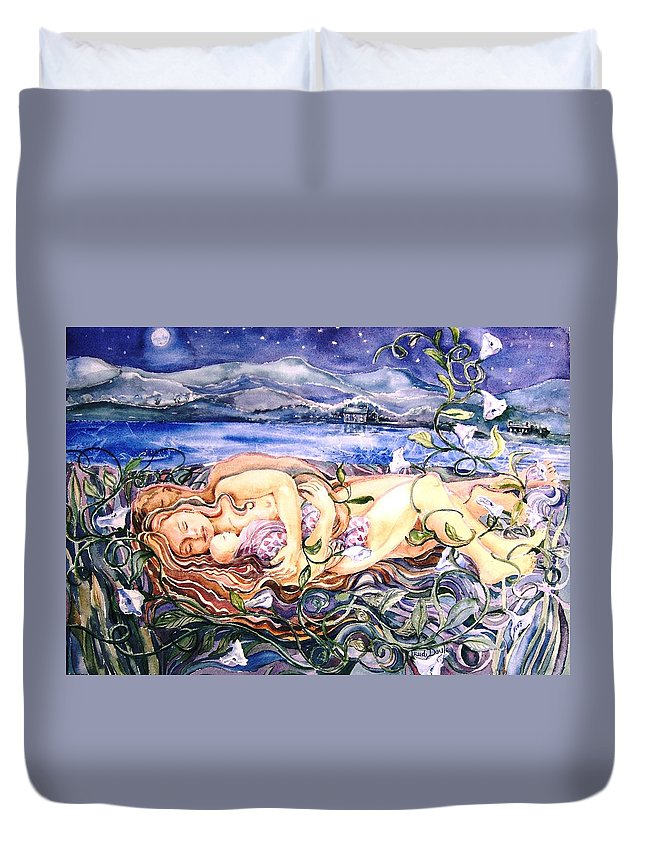 Couple Duvet Cover featuring the painting Family by Trudi Doyle