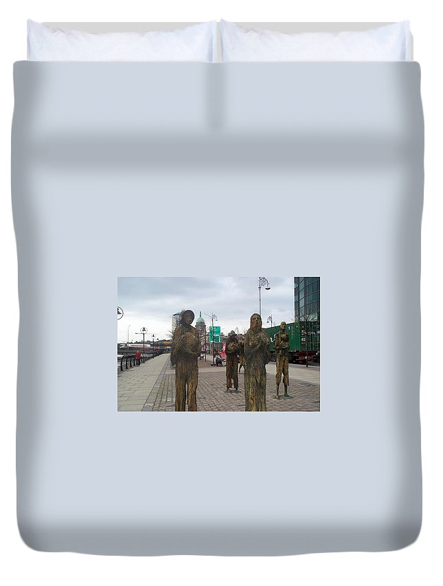 Statue Duvet Cover featuring the photograph Famine Monument Dublin Ireland by Barbara McDevitt