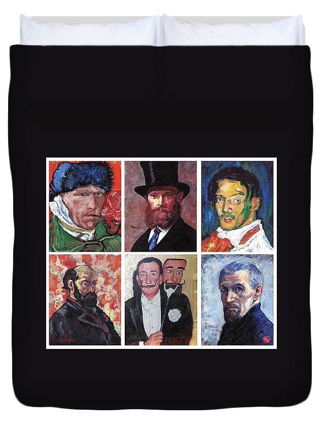 Famous Artist Self Portraits Duvet Cover featuring the painting Famous Artist Self Portraits by Tom Roderick