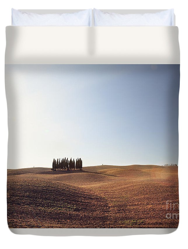 Idyllic Duvet Cover featuring the photograph Famous Cypress Grove In Tuscany by Matteo Colombo