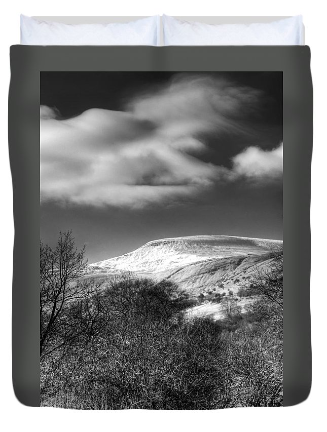Fan Fawr Mountain Duvet Cover featuring the photograph Fan Fawr Brecon Beacons 1 Mono by Steve Purnell