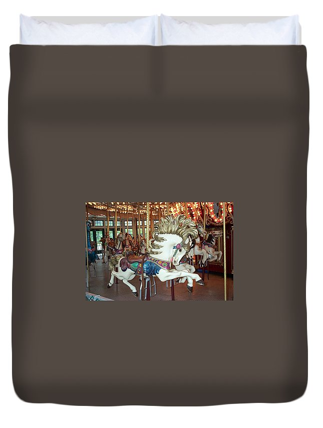 Carousel Duvet Cover featuring the photograph Fancy Flashy Pony -ri by Barbara McDevitt