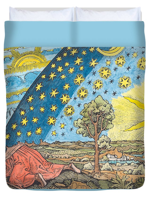 Star Duvet Cover featuring the painting Fantastic Depiction Of The Solar System by German School
