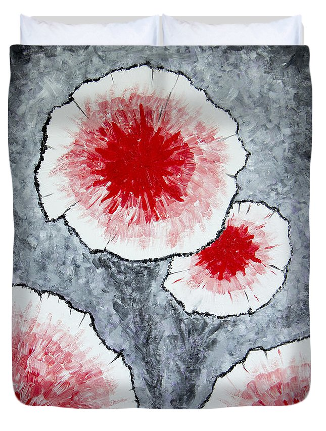 Red Flower Duvet Cover featuring the painting Fantasy Flowers In Red No 1 by Ben Gertsberg
