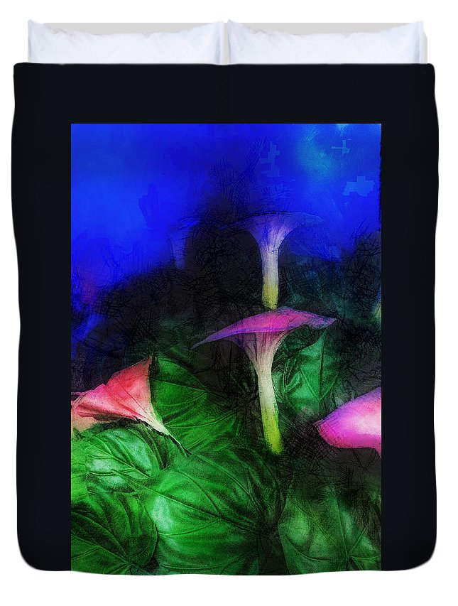 Asia Duvet Cover featuring the digital art Fantasy Flowers Lux by David Lange