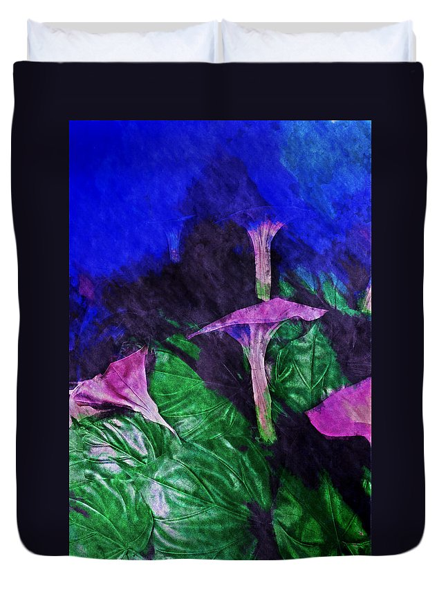 Asia Duvet Cover featuring the digital art Fantasy Flowers Watercolor 2 Hp by David Lange