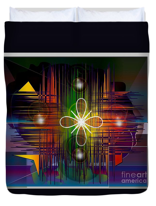 Abstract Duvet Cover featuring the digital art Fantasy by Iris Gelbart