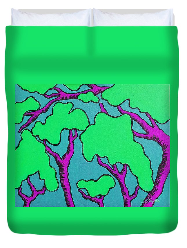 Cartoon Duvet Cover featuring the painting Fantasy Trees by Tommy Midyette