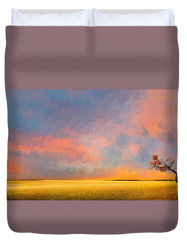 Far Away Sunset With Old Tree Duvet Cover featuring the painting Far Away Sunset With Old Tree by Angela Stanton
