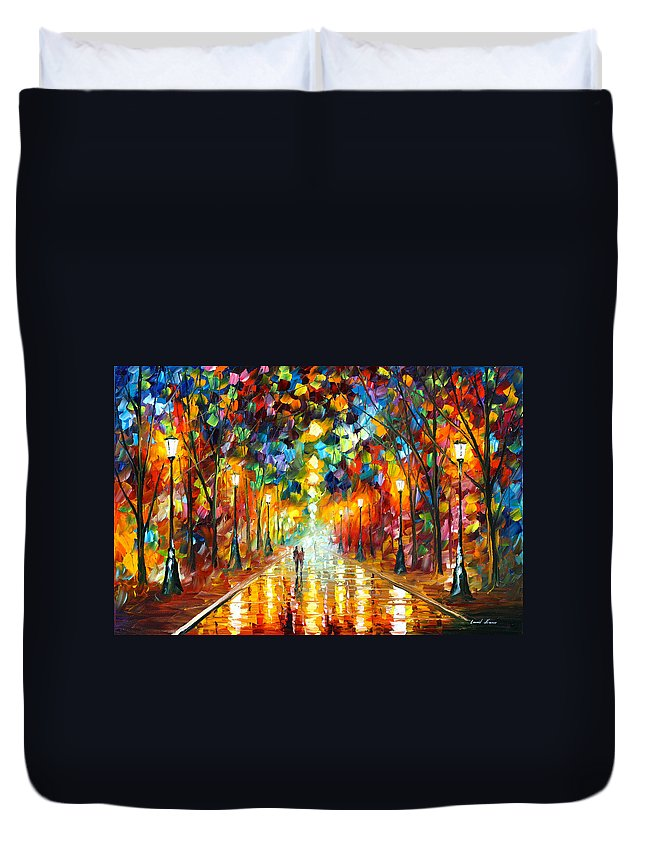 Farewell Duvet Cover featuring the painting Farewell To Anger by Leonid Afremov
