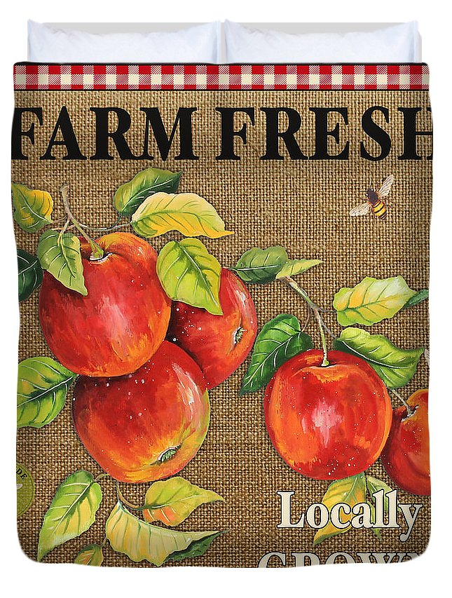 Burlap Duvet Cover featuring the digital art Farm Fresh-jp2380 by Jean Plout