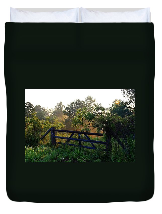 Morning Duvet Cover featuring the photograph Farm Gate In Morning Light by Kathryn Meyer