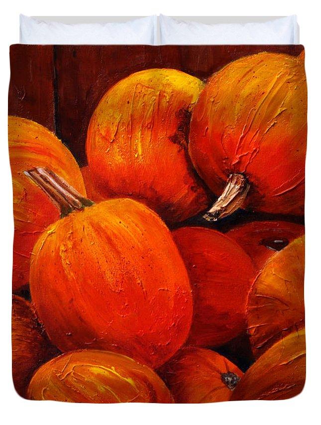 Autumn Duvet Cover featuring the painting Farm Market Pumpkins by Phyllis London