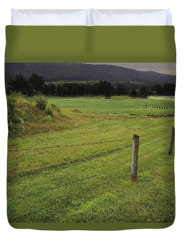 Farm Duvet Cover featuring the photograph Farm Road by Fran Gallogly