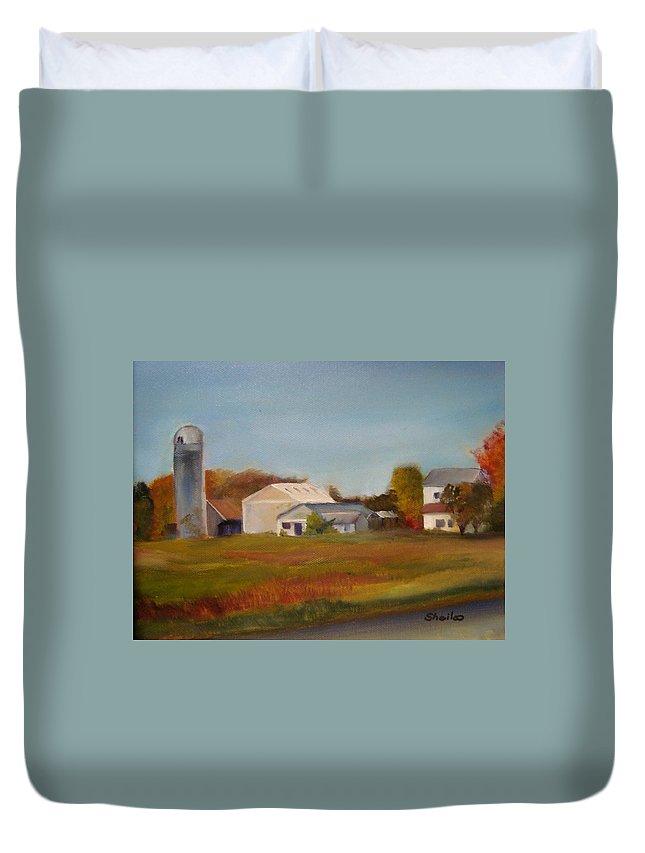 Farm Silo. Plein Aire Duvet Cover featuring the painting Farm by Sheila Mashaw