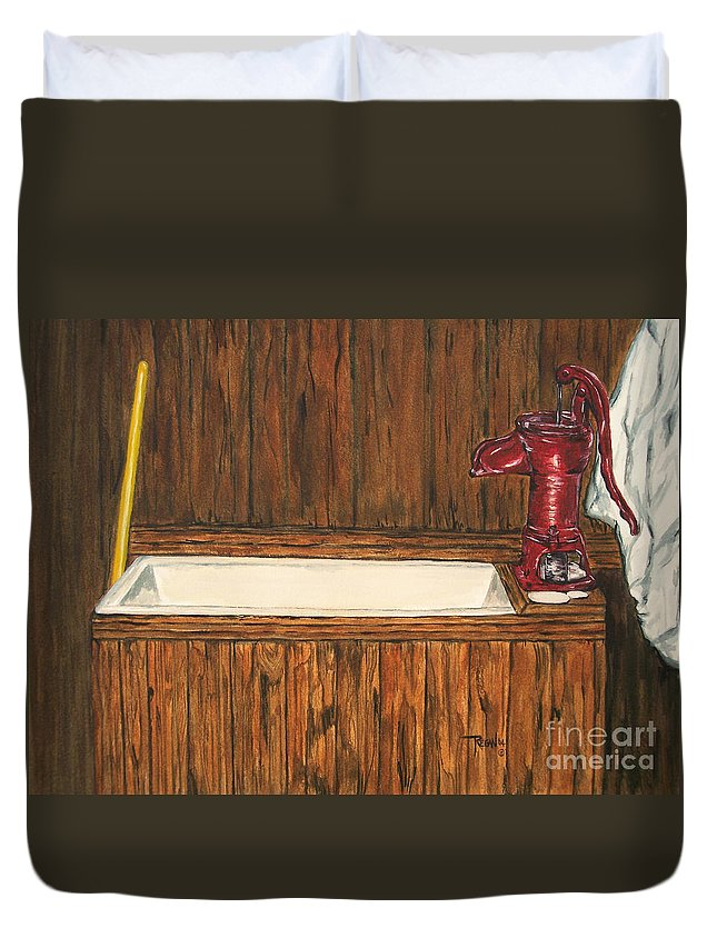 Farm Sink Duvet Cover featuring the painting Farm Sink by Regan J Smith