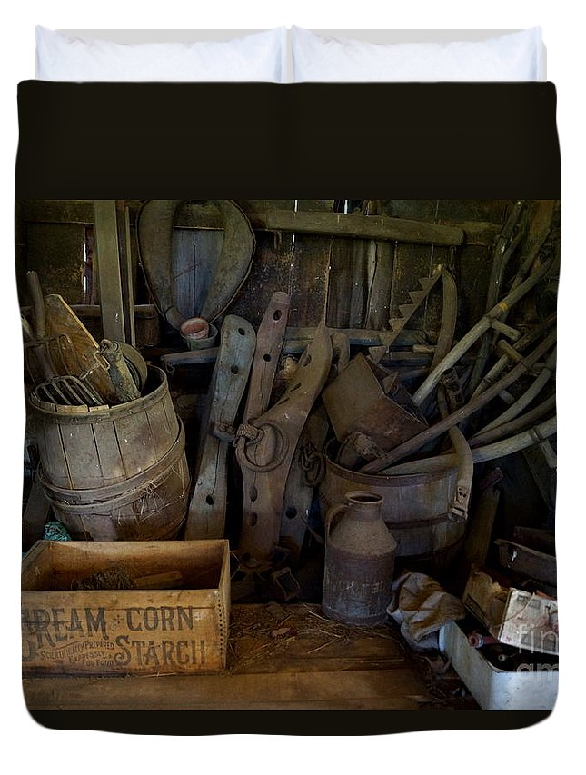 Barn Duvet Cover featuring the photograph Farm Tools by Kerri Mortenson