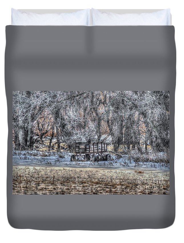 Snow Duvet Cover featuring the photograph Farm Wagon Sitting In The Snow by M Dale