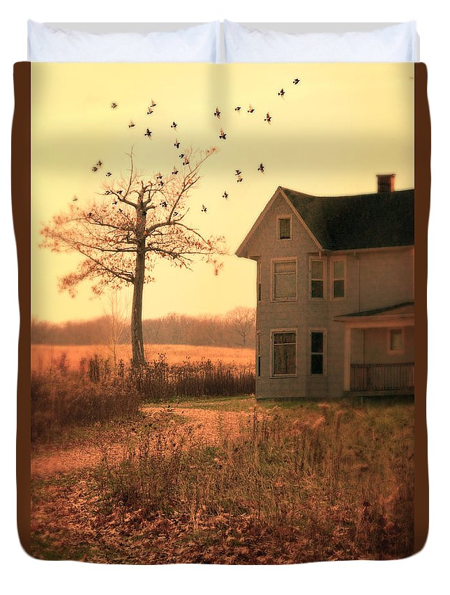 House Duvet Cover featuring the photograph Farmhouse By Tree by Jill Battaglia