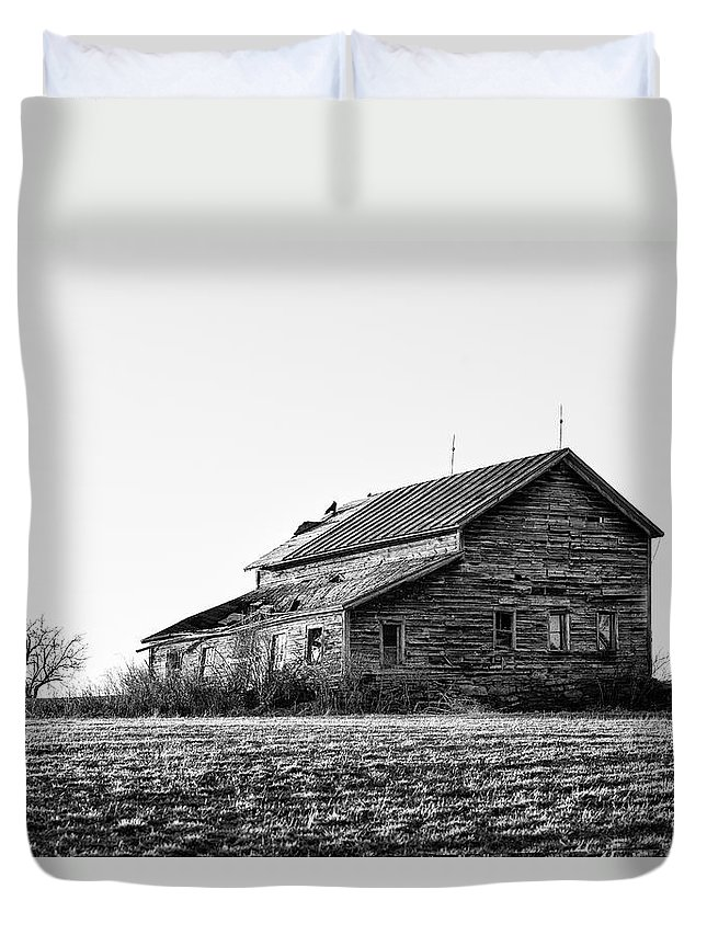 Black And White Duvet Cover featuring the photograph farmhouse in spring - Old Barns by Gary Heller