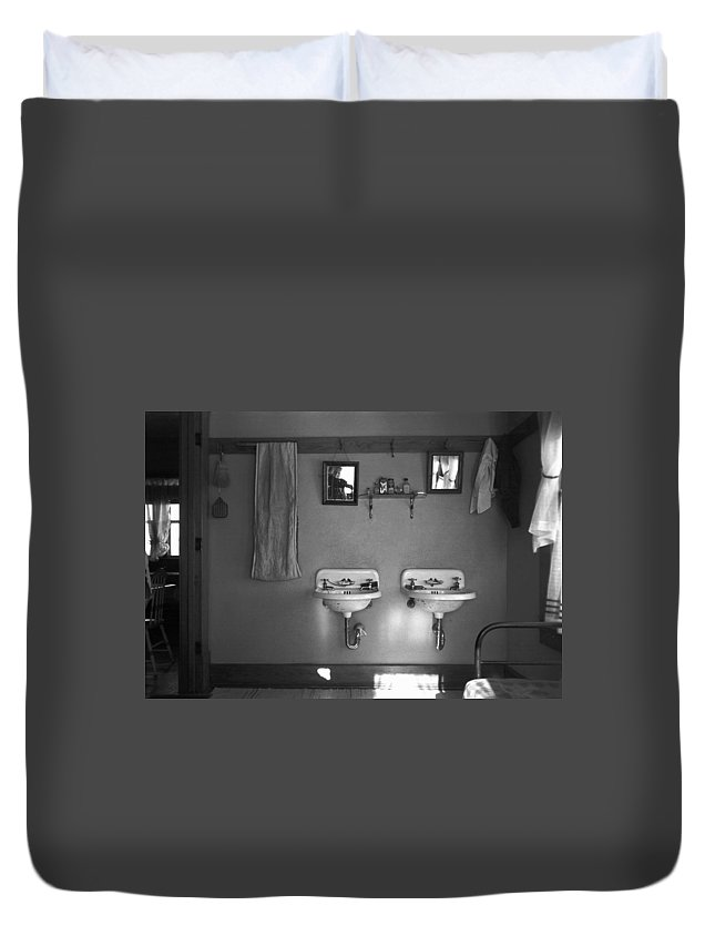 1936 Duvet Cover featuring the photograph Farmhouse Washroom, 1936 by Granger