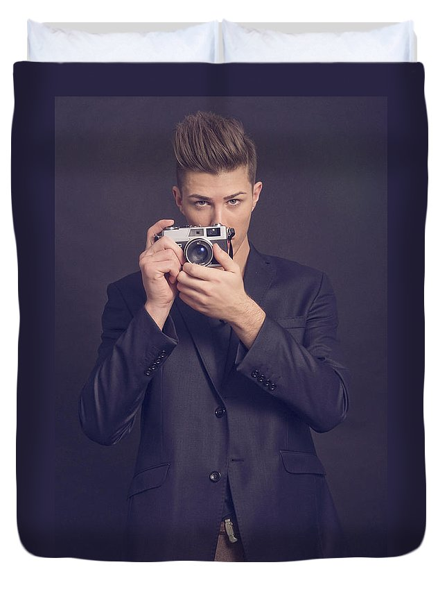 Man Duvet Cover featuring the photograph Fashion Photographer by Cosmin Munteanu