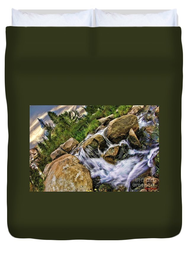 Duvet Cover featuring the photograph Fast Moveing Stream by Blake Richards