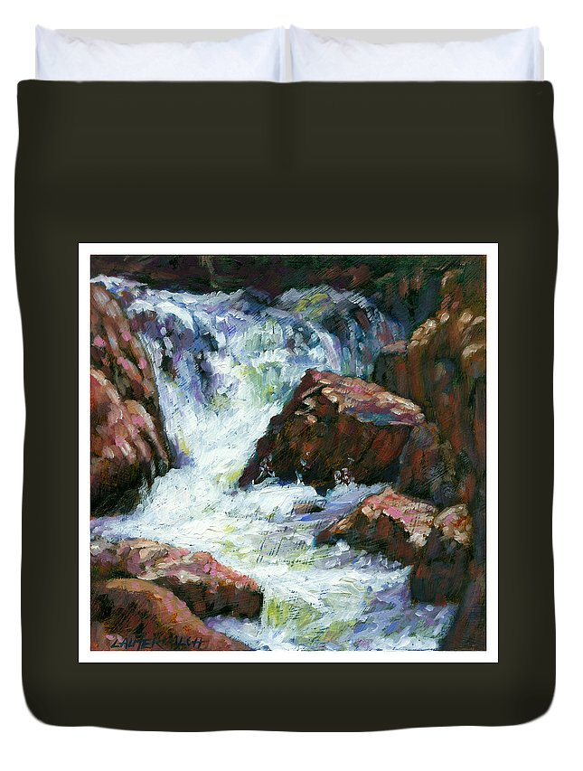 Colorado Duvet Cover featuring the painting Fast Stream by John Lautermilch
