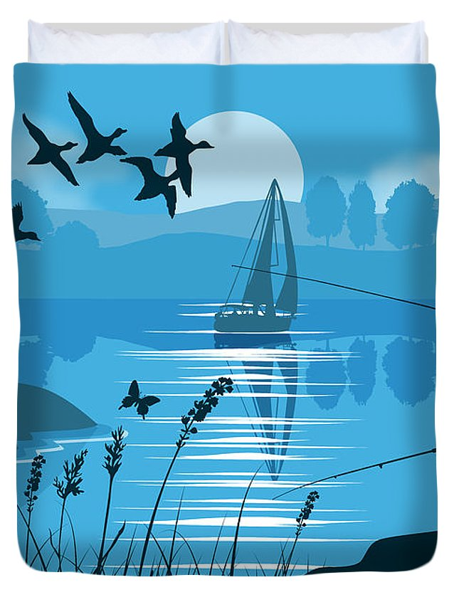 Landscape Duvet Cover featuring the painting Father And Son Fishing by Tim Gilliland