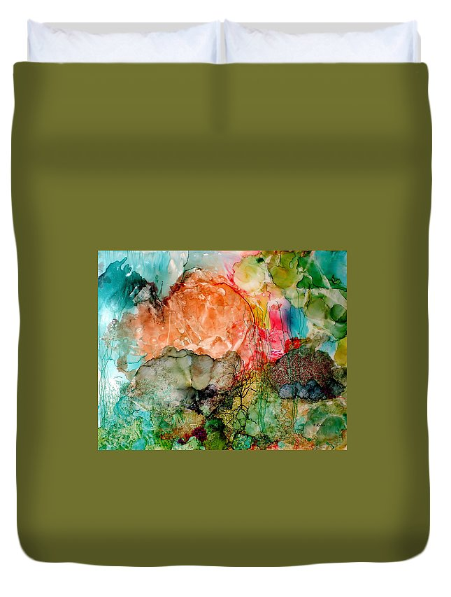 Ocean Duvet Cover featuring the painting Fathoms by Susan Kubes